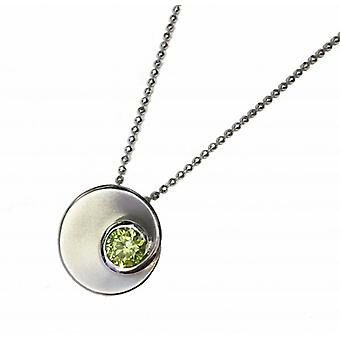 Cavendish French Silver and Peridot Green CZ Swirl Pendant without Chain