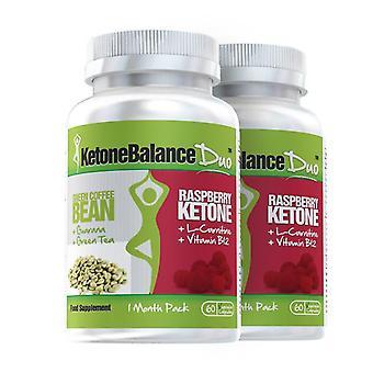 KetoneBalance Duo con cetonas frambuesas y extracto de café verde - 2 meses alimentación - 2-en-1 quemador de grasa - evolución adelgazar