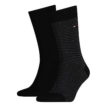 Tommy Hilfiger Striped Socks 2-Pack - Black