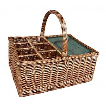 Green Tweed Wicker Picnic Basket With 4 Glasses