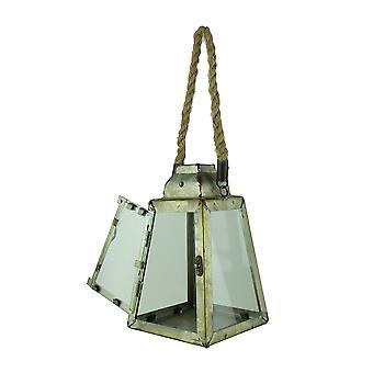 Lanterna da vela pirâmide rústico de Metal com alça de corda/gancho