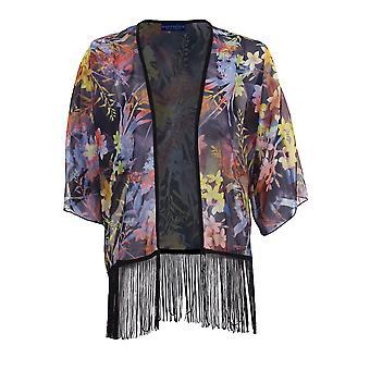 Ladies 3/4 Sleeve Open Front Floral Print Chiffon Translucent Women's Kimono