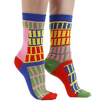 Gridlock combed cotton multicolour odd-socks | By seriouslysillysocks