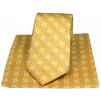 David Van Hagen Windmill Design Tie and Handkerchief Set - Gold