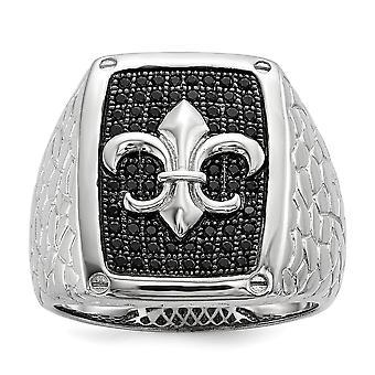 Sterling zilveren effenen Fleur De Lis Rhodium-plated en zwarte Zirkonia briljant Embers Mens Ring - Ringmaat: 9 tot 1