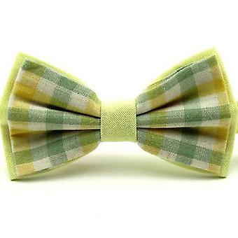 Yellow & Green Check Vintage Style Bow Tie, Plaid, Tweed