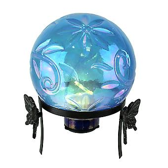 Iridescent Blue Glass LED Lighted Gazing Ball with Butterfly Stand