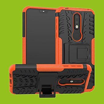 Für Nokia 7.1 5.84 Zoll Hybrid Case 2teilig Outdoor Orange Zubehör Tasche Hülle Cover Schutz