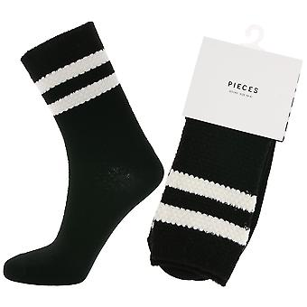 pieces classic ladies socks with stripes at the collar black