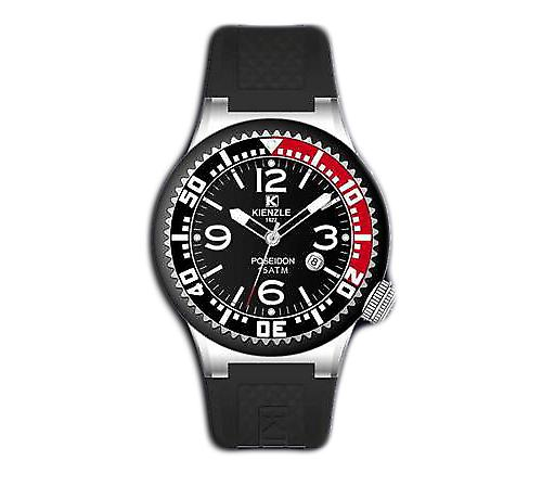 Waooh - 720 3065 Kienzle Watch for Women - Black Silicone Bracelet - Black Dial - Black & Metal Box - Black & Red Bezel