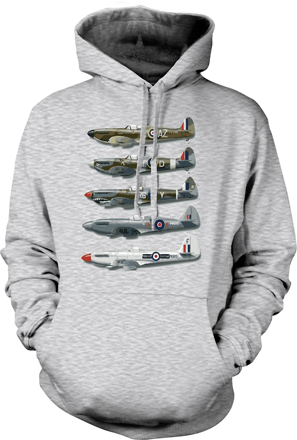 Mens Hoodie - 5 Spitfires Collage - Quote