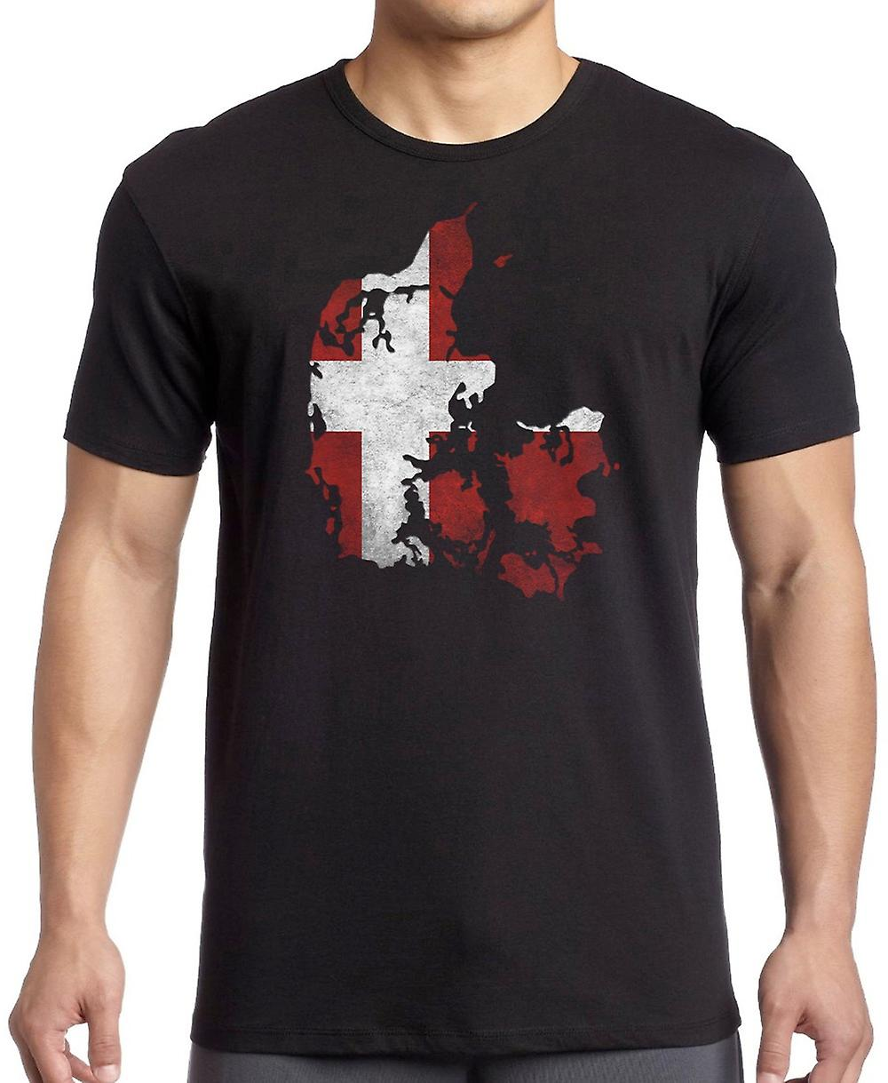 Denmark Danish Flag Map T-Shirt