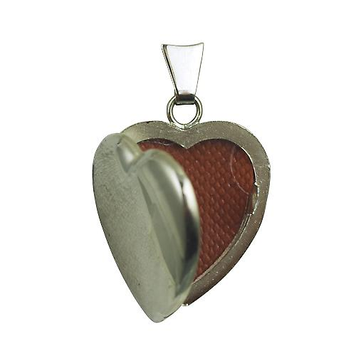 18ct White Gold 21x19mm plain heart shaped Locket