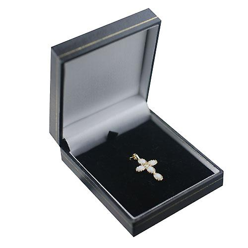9ct Gold 25x16mm Cross set with Opals