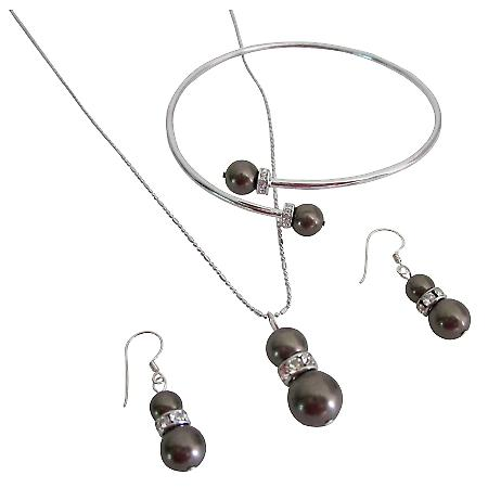 Shop Wedding Wholesale Brown Chocolate Necklace Earrings Bracelet Set