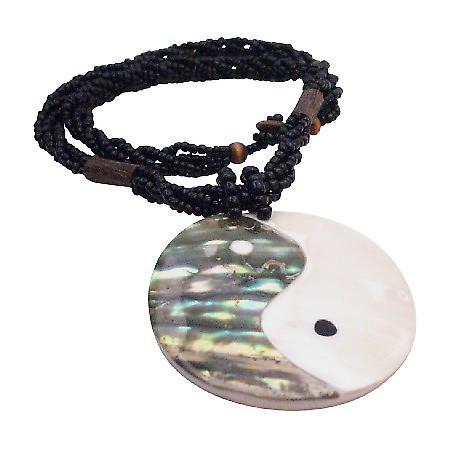 Ethnic Vintage Shiva Eye Shell Pendant Necklace
