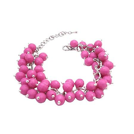 Handmade Artisan Jewelry Cluster In Beautiful Pink Beads Chic Bracelet
