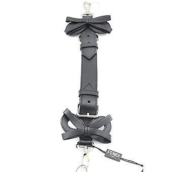 Fendi Black Leather Shoulder Strap