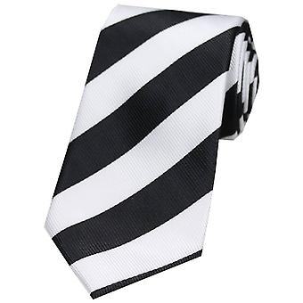 David Van Hagen listra negrito gravata poliéster - preto/branco