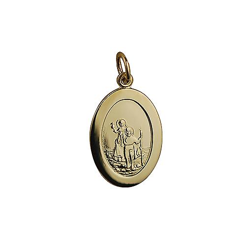 9ct Gold 19x9mm plain oval St Christopher Pendant