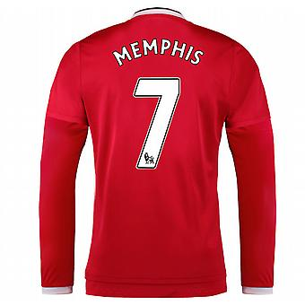 2015-2016 Man Utd Long Sleeve Home Shirt (Memphis 7) - Kids