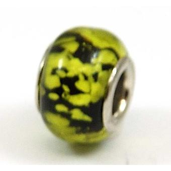 TOC BEADZ Lime Frog Spawn 9mm Glass Slide-On Off Bead