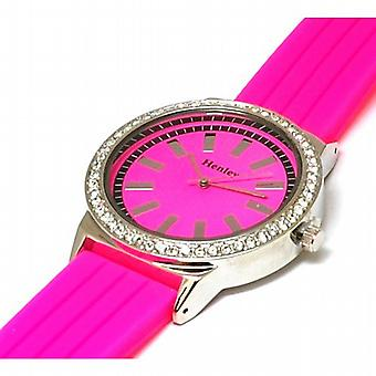 Henley Glamour Hot Pink Silicone Strap Watch with Diamante Crystal H0838.5N