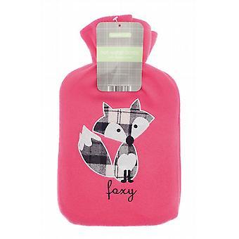 Applique Fleece Pink 2L Hot Water Bottle: Foxy