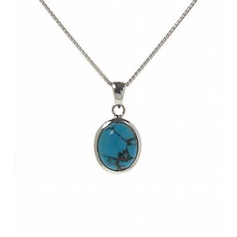 "Cavendish French Silver Framed Oval Turquoise Pendant with 16 - 18"" Silver Chain"