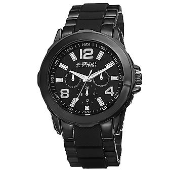 August Steiner Men es AS8114 Day Date GMT Dial Inner Links Armband Armband Watch AS8114BK