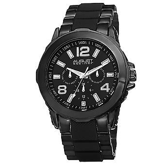 Agosto Steiner hombres AS8114 día fecha GMT dial enlaces interiores pulsera reloj AS8114BK