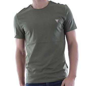 Guess Small Logo Crew Neck T Shirt   Olive