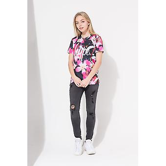 Hype Pink These Flowers Script Kids T-Shirt