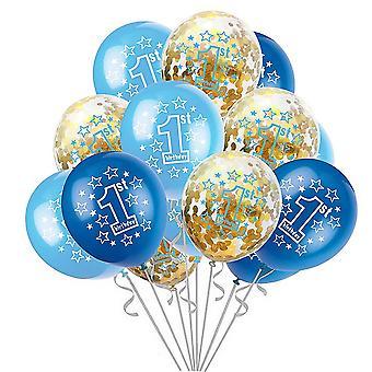 TRIXES 1ST Geburtstag Ballons für Baby Boy 15 blau und weiß mit Silber Band