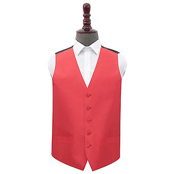 Red Shantung Wedding Waistcoat