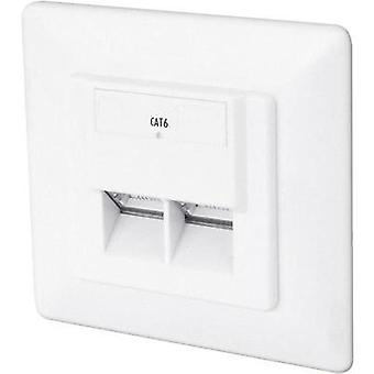 Network outlet Flush mount Insert with main panel and frame CAT 6 2 ports Digitus Professional Pure white