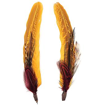 Pheasant Hackle Guinea Hat Trim 2pc-Black, Fig And Marigold BPHT-BLFIG