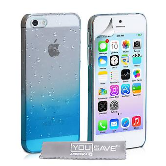 YouSave Accessori iPhone SE Raindrop duro caso BlueClear