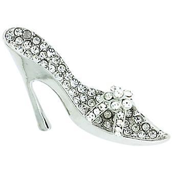 Broscher Store Silver och Crystal Stiletto högklackade sko brosch