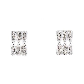Silver and Swarovski Crystal Triple Twist Stud Earrings