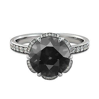 14K White Gold 1.50 CTW Black Diamond Ring with Diamonds Flower Vintage Unique