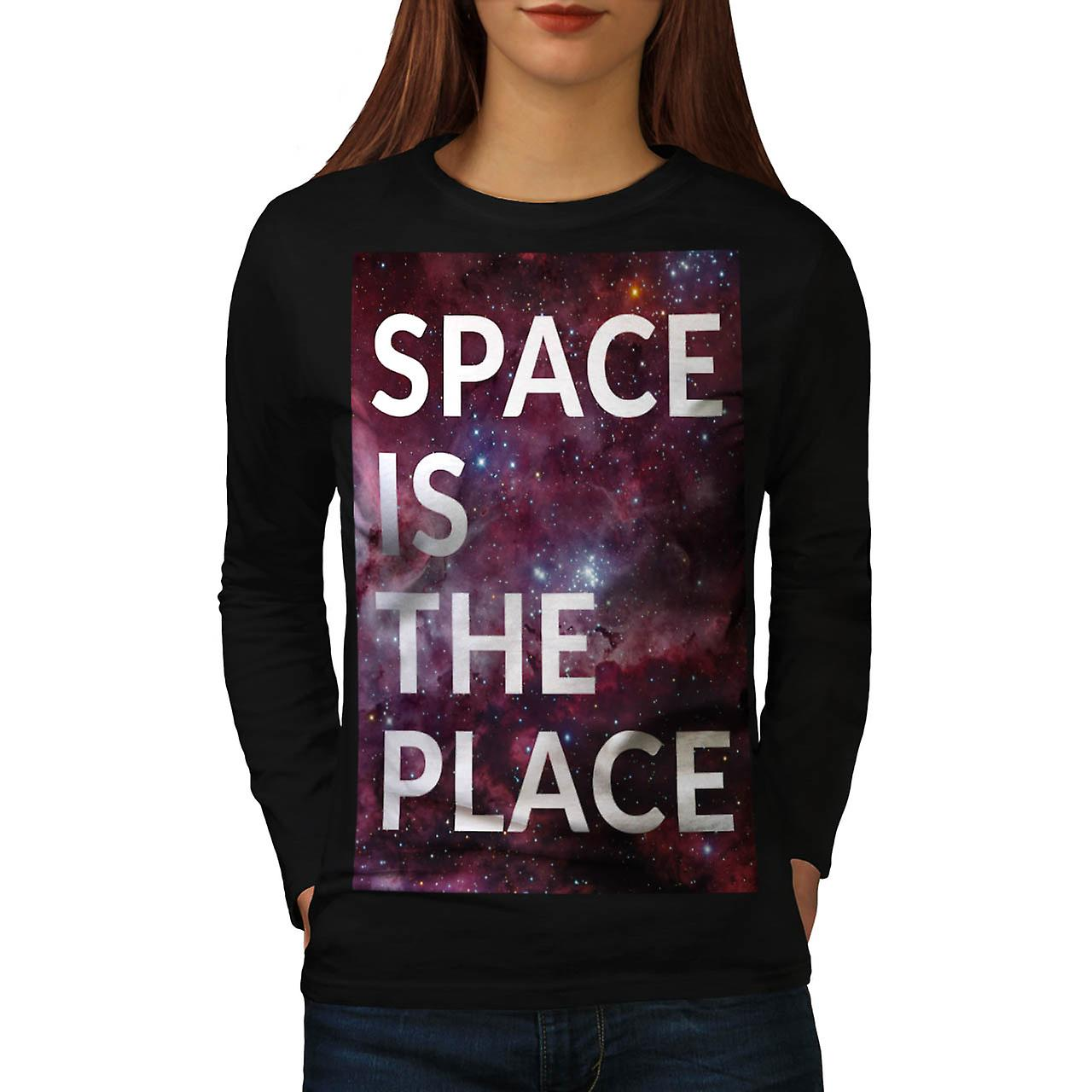 Space Is The Place Fun Big Planet Women Black Long Sleeve T-shirt | Wellcoda