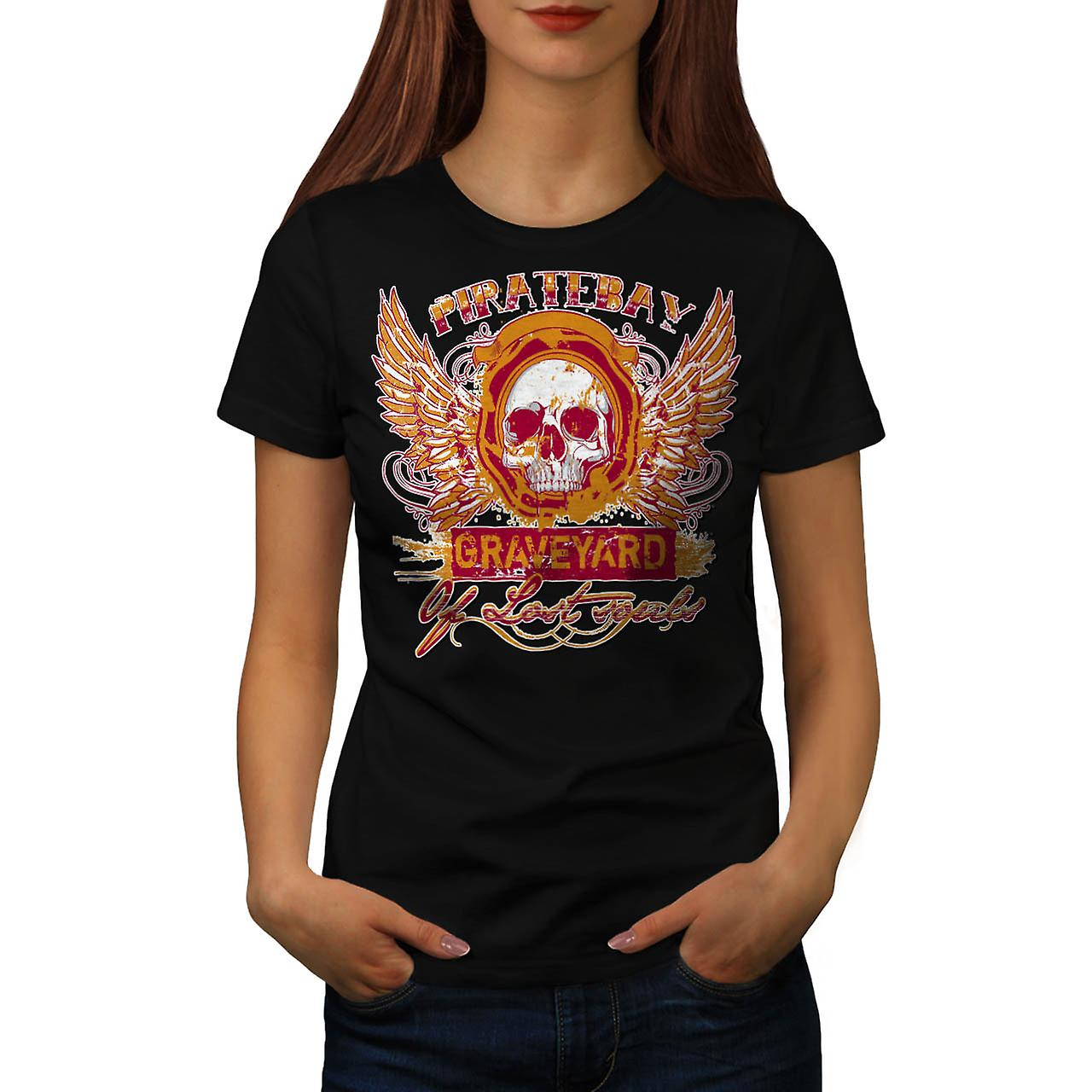 Pirate Bay Grave Yard Lost Souls Women Black T-shirt | Wellcoda