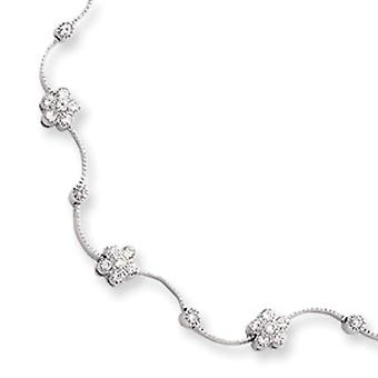 Rhodium-plated CZ Flower Wave Necklace - Length: 16 to 18