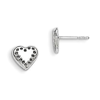 Sterling Silver Solid Polished Post Earrings Heart Mini Children Earrings - 1.1 Grams