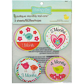 Babyville Boutique Monthly Iron-On Appliques 12/Pkg-Little Bird & Hearts 350I-35240