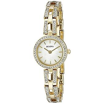 Bulova Women's 98L213 Crystal Analog Display Quartz Gold Watch
