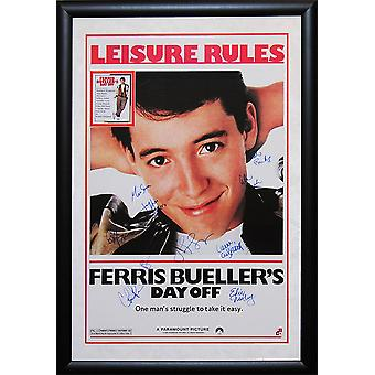 Ferris Bueller's Day Off Signed Movie Poster in Wood Frame with COA
