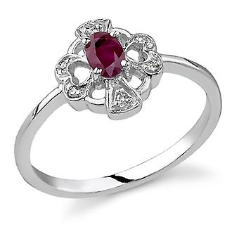 Cross and Heart Ruby and Diamond Ring, 14K White Gold