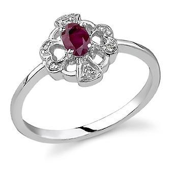 Kors og hjerte Ruby og diamantring, 14K hvidguld